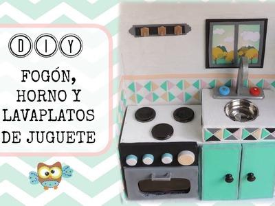 DIY ✿ Manualidades para niños - horno y lavaplatos de juguete | DIY Playkitchen - Oven and sink