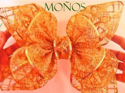 DIY Moños flores y lazos de Navidad en cintas - Ribbons and bows Christmas flowers