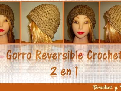 Gorro reversible 2 en 1 tejido a crochet - ganchillo para mujeres