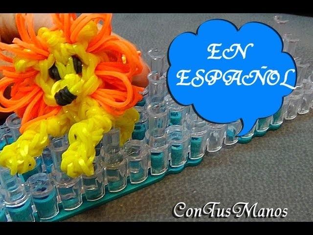LEON DE GOMITAS.LION CHARM CON TELAR RAINBOW LOOM (EN ESPAÑOL) CONTUSMANOS