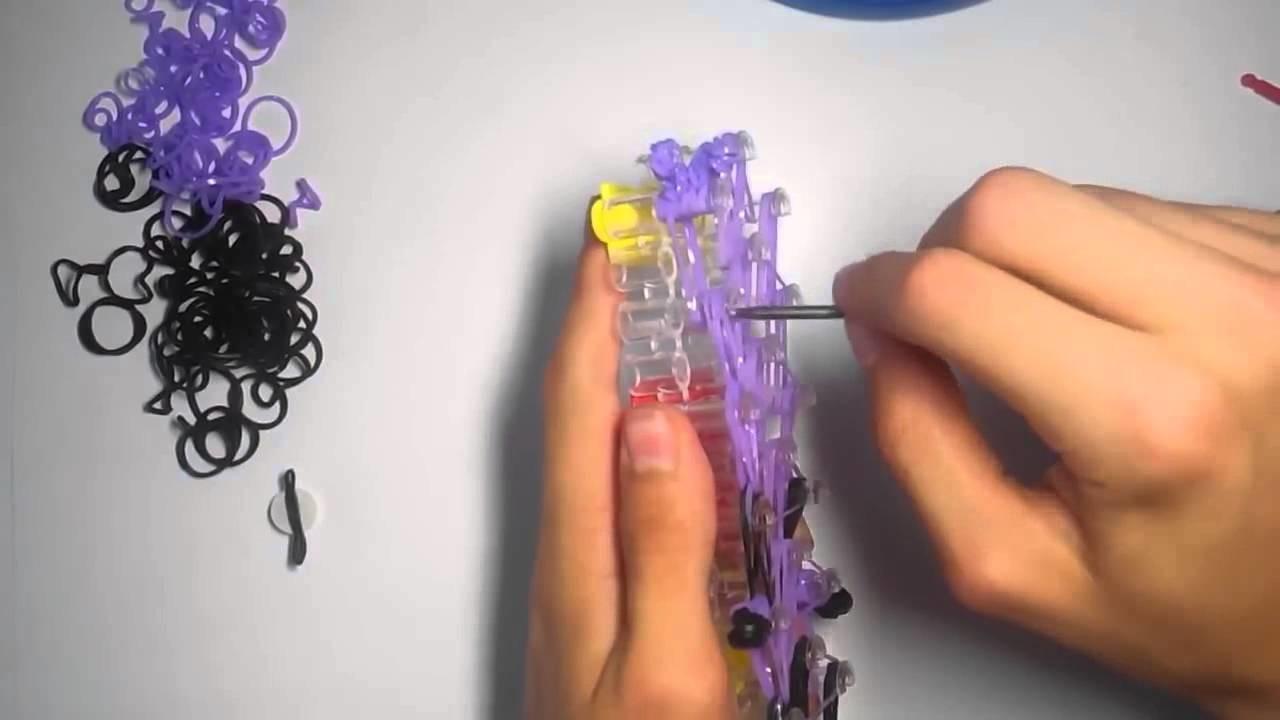 Minion morado de gomitas con telar rainbow loom   Rainbow loom charms purple minion with loom bands