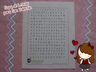 @xoOlexiitOo ❥DIY San Valentín: Tarjeta Sopa de Letras
