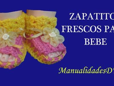 Como tejer zapatitos para bebe a crochet paso paso - Zapatitos frescos