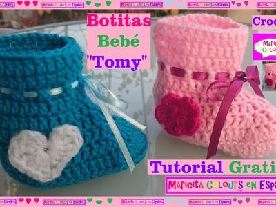 "Crochet Tutorial Botitas Recién Nacidos ""Tomy"" (Parte 2) por Maricita Colours"