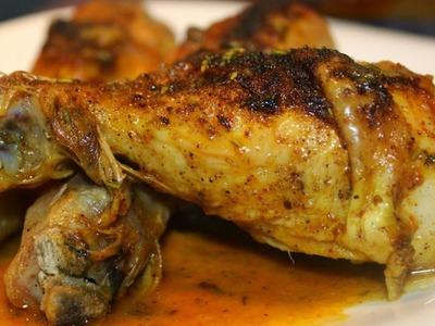 Pollo rostizado con cebollitas cambray y aceitunas. Cocinemos juntos