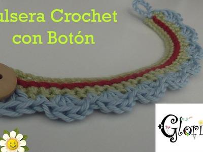 Pulsera Crochet Botón. Bracelet Crochet Button.