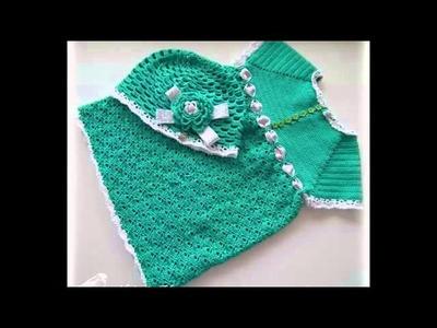 Vestidos tejidos a crochet para bebita de 1 año