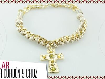Cómo hacer collar trenzado en cordón y cadena dorada Kit 26346 | VARIEDADES CAROL