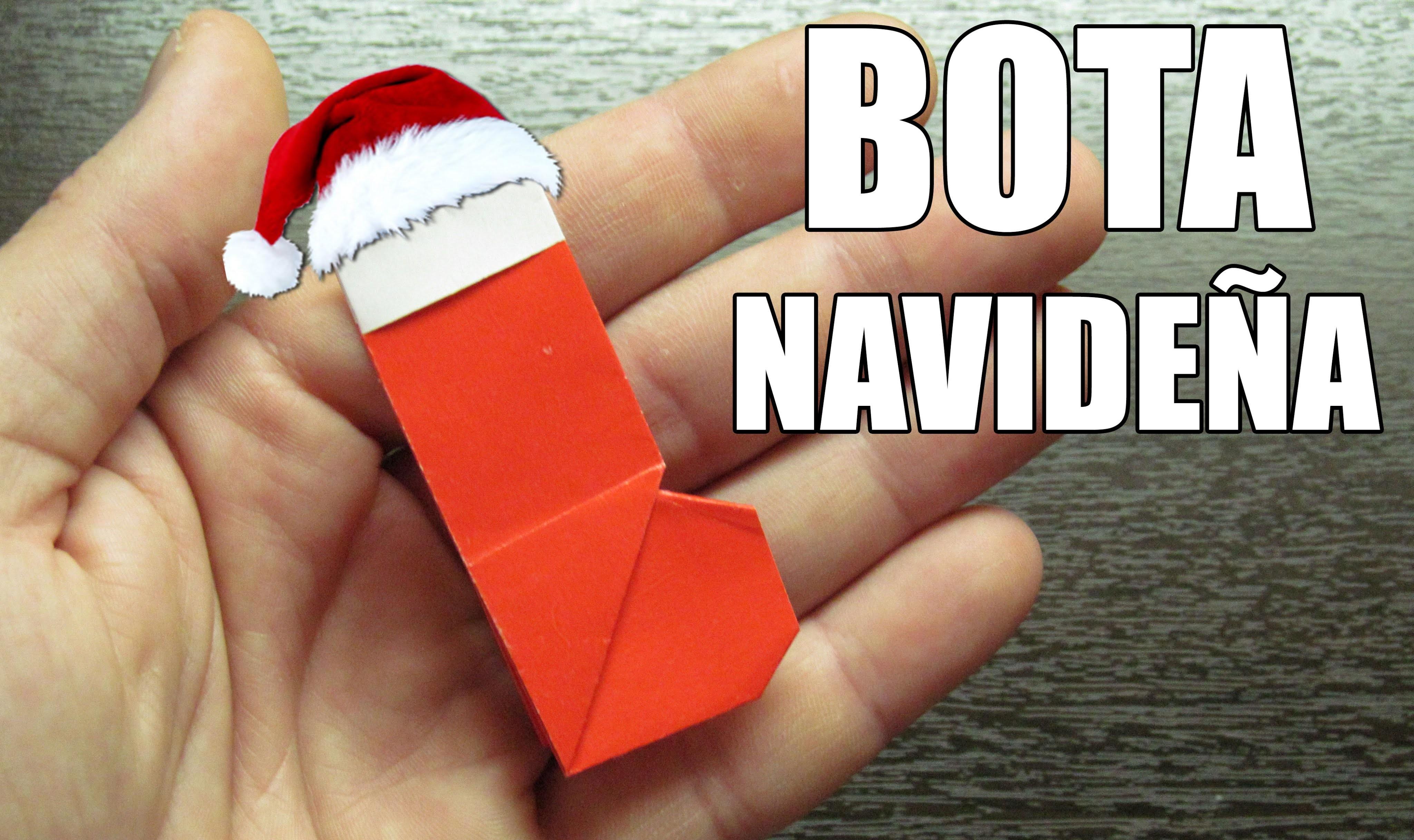 Como hacer un BOTA DE SANTA CLAUS adornos navideños | Origamis de papel (Muy fácil)