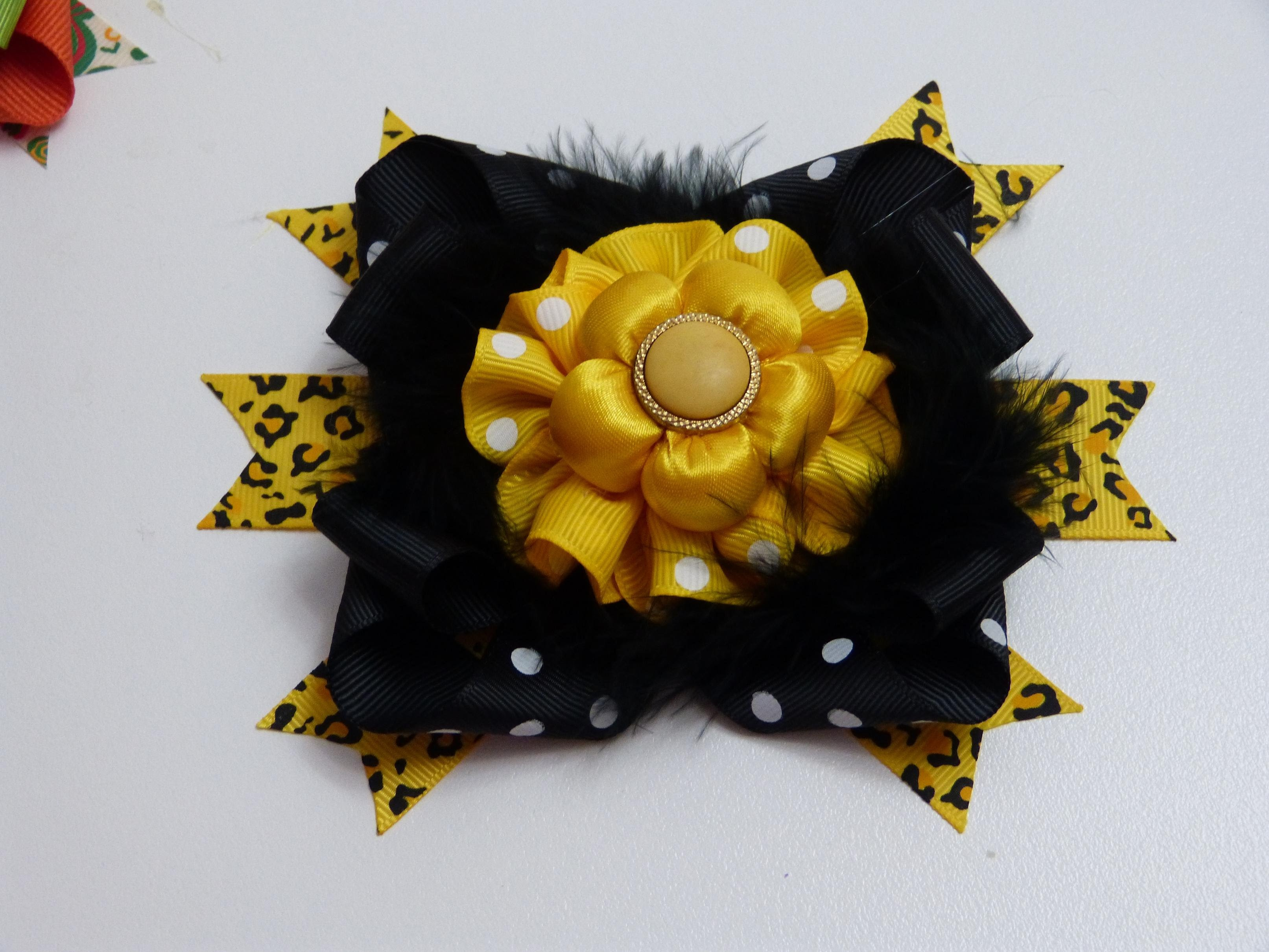 Accesorios para el cabello de las Niñas  con flores en tela y Lazos de cinta
