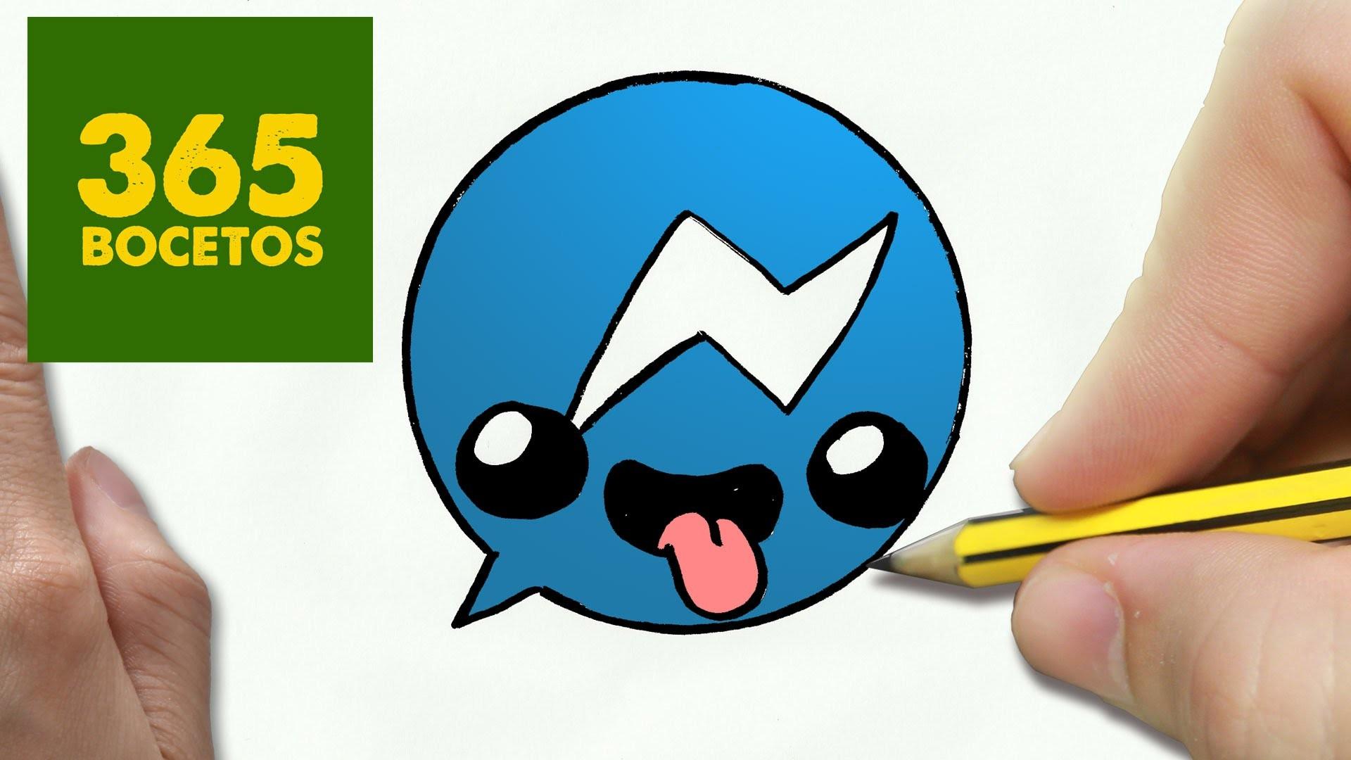 COMO DIBUJAR LOGO MESSENGER KAWAII PASO A PASO - Dibujos kawaii faciles - How to draw Logo Messenger
