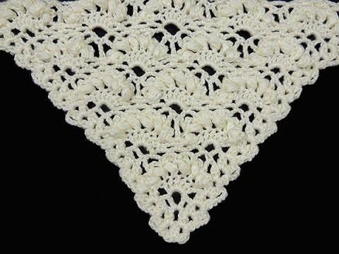 "Crochet : Punto Abanico Puff en Relieve en ""V"""