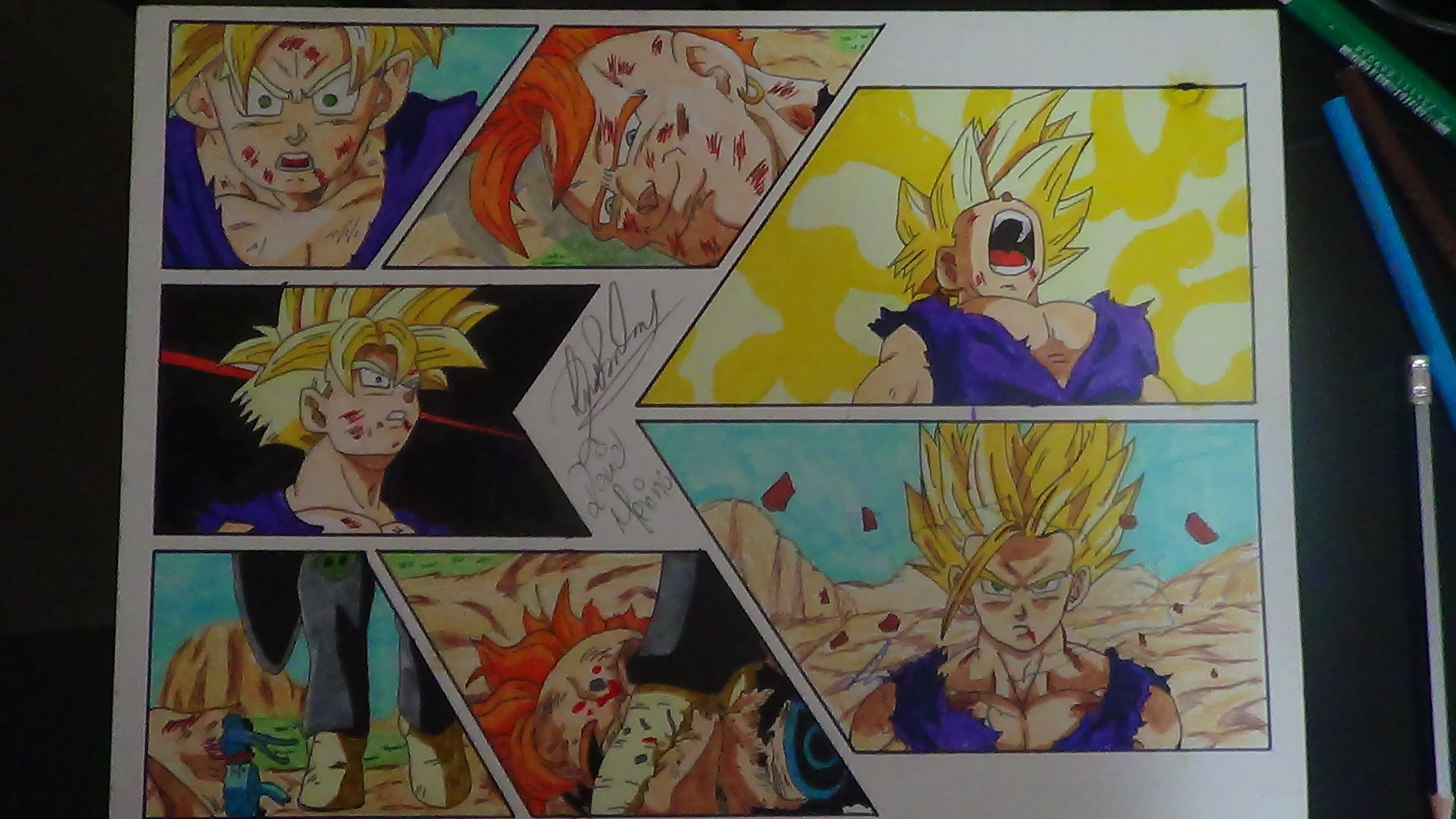 DRAGON BALL Z HOW TO DRAW GOHAN SSJ2 CELL DRAWING DIBUJO 図  ご飯 ssj