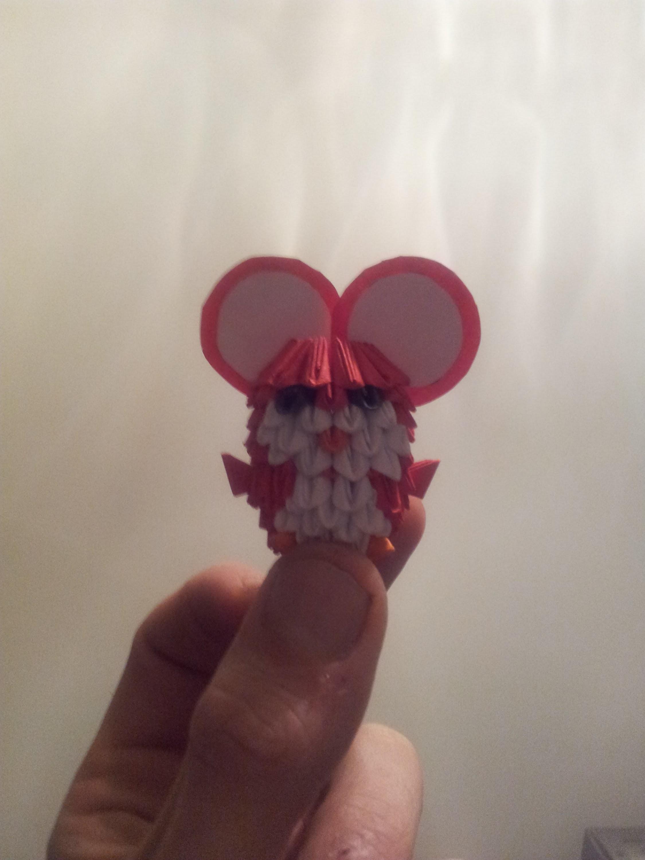ORIGAMI 3D. Mini ratón rojo, tutorial.