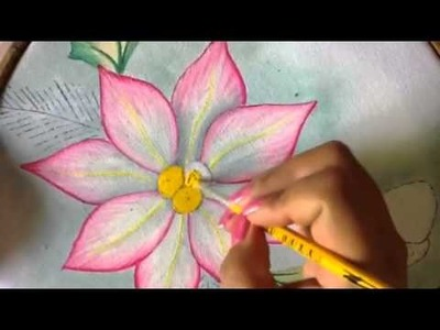 Pintura en tela pétalos de nochebuena # 3 con cony