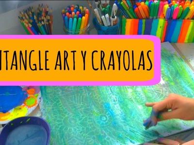 Técnica de Crayolas con Acrílicos! Zentangle Art