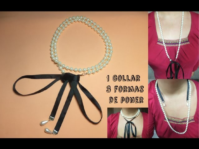 Collar de perlas y lazo con 3  formas distintas de poner.