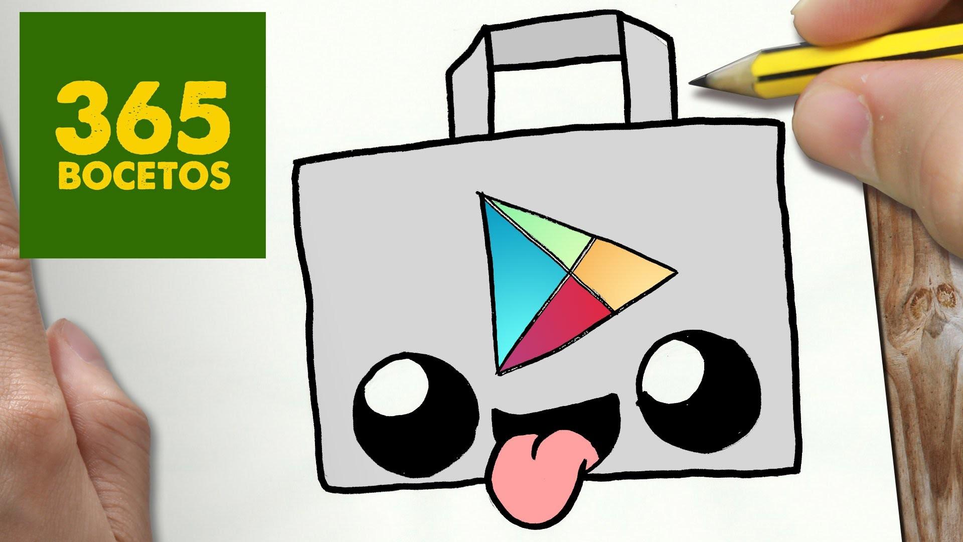 COMO DIBUJAR LOGO PLAY STORE KAWAII PASO A PASO - Dibujos kawaii faciles - draw logo play store