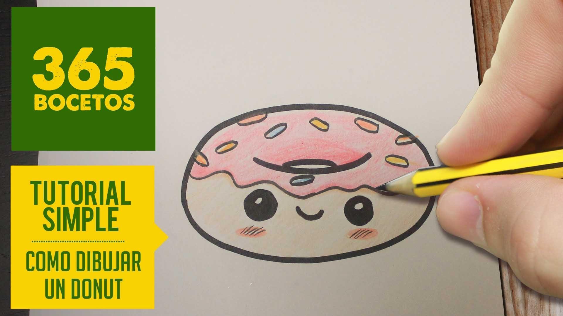 COMO DIBUJAR UN DONUT KAWAII PASO A PASO - Dibujos kawaii faciles - How to draw a donut
