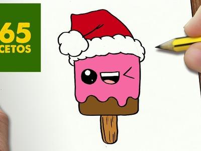 COMO DIBUJAR UN HELADO PARA NAVIDAD PASO A PASO: Dibujos kawaii navideños - How to draw a Ice cream