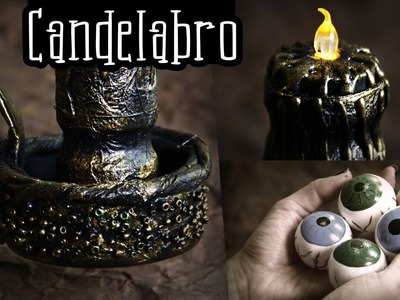 ¡CANDELABRO DE PELICULA! Halloween idea reciclaje ✄ Craftingeek