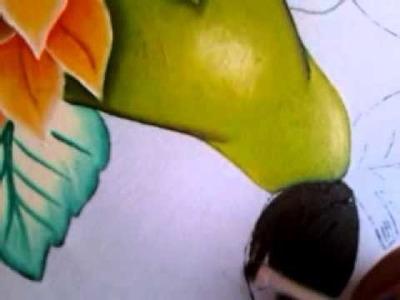 PINTURA EN TELA  pera verde con cony