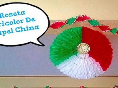 Roseta Tricolor De Papel China (( Colaborativo - Noche Mexicana ))