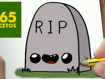 COMO DIBUJAR LAPIDA KAWAII PASO A PASO - Dibujos kawaii faciles - How to draw a headstone