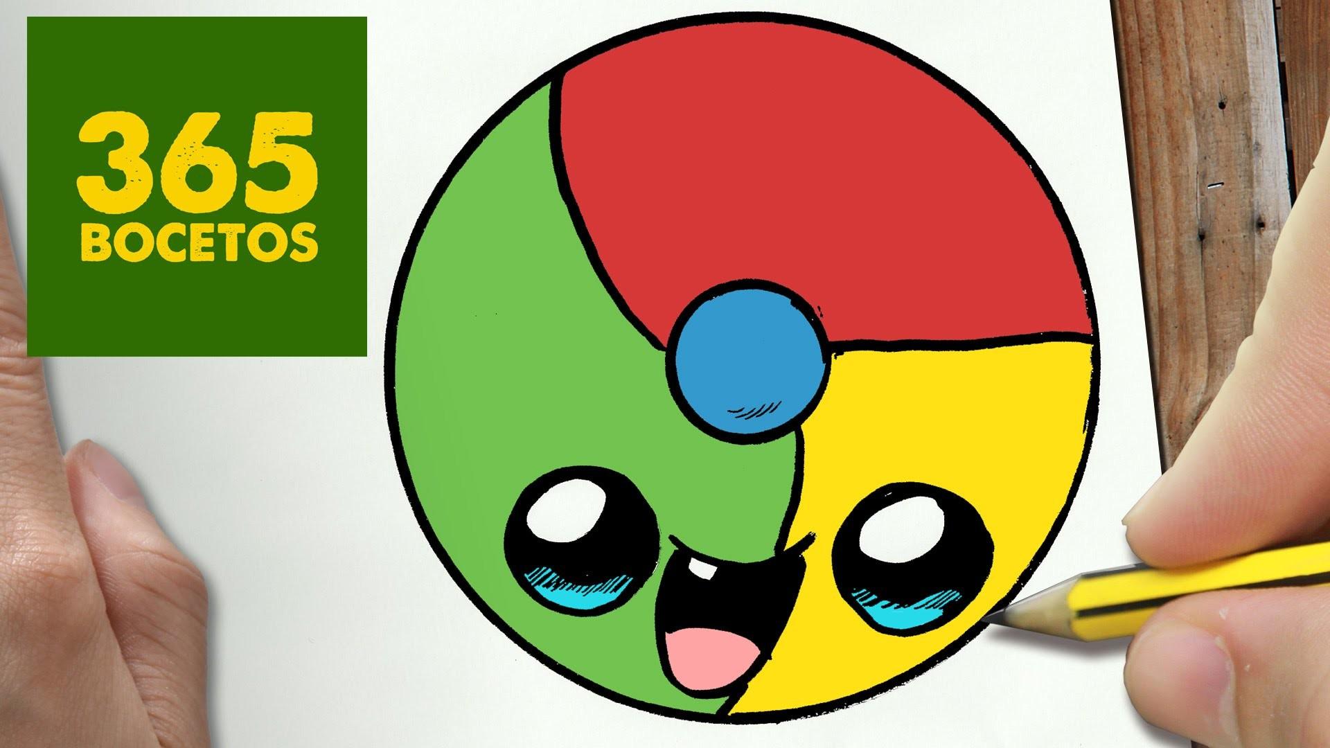 COMO DIBUJAR LOGO CHROME KAWAII PASO A PASO - Dibujos kawaii faciles - How to draw a Logo Chrome