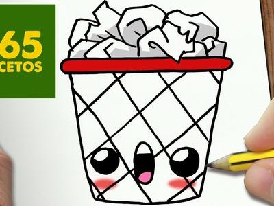 COMO DIBUJAR PAPELERA KAWAII PASO A PASO - Dibujos kawaii faciles - How to draw a paper bin