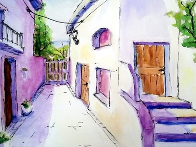 Como pintar con acuarela una calle de pueblo | acuarela para principiante sombra y luz paso a paso