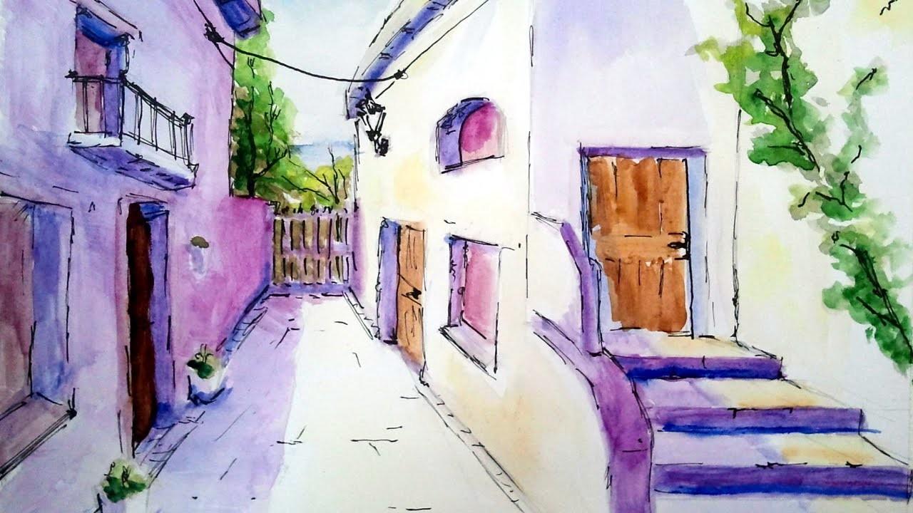 Como pintar con acuarela una calle de pueblo acuarela - Pasos para pintar una pared ...