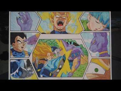 DRAGON BALL HOW TO DRAW VEGETA SSJ VS BEERUS THAT'S MY BULMA NADIE TOCA A MI BULMA DIBUJO DRAWING 図