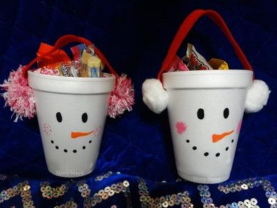 Dulceros navideños muñeco de nieve, DIY