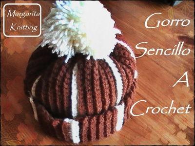 Gorro sencillo a crochet (diestro)