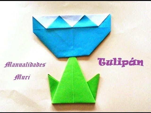 Origami - Papiroflexia. Flor tulipán, muy fácil