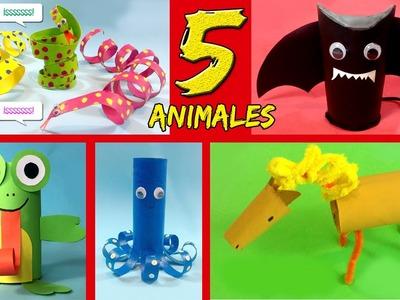 5 ANIMALES con tubos de papel higiénico * Ideas de RECICLAJE