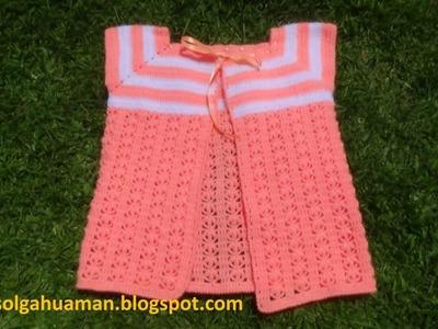 Chaleco tejido a crochet para niña de 1a 3 años paso a paso