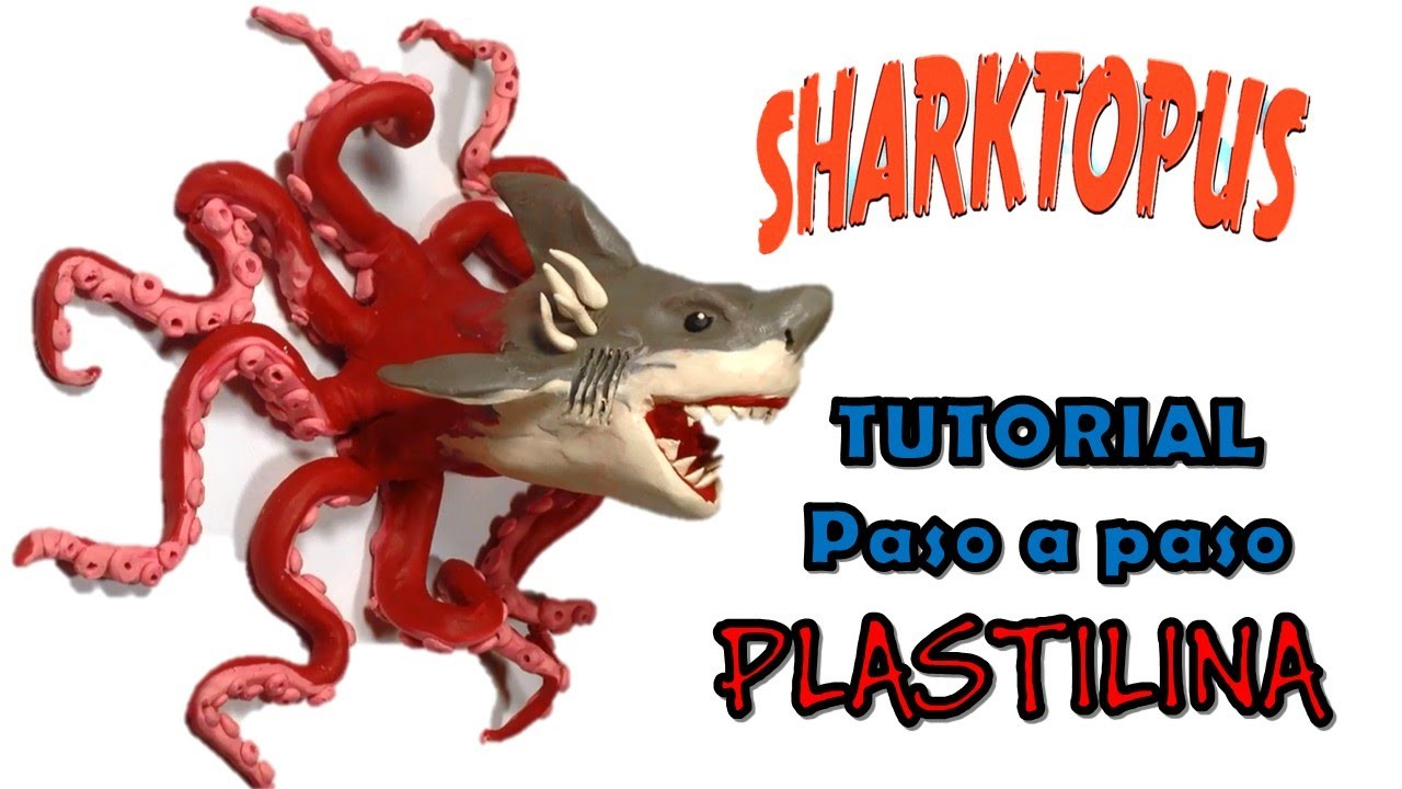 Como hacer un tiburon pulpo de Plastilina. How to make a shark octopus with clay