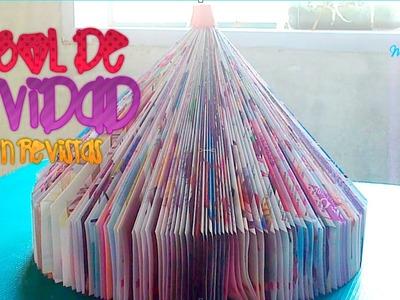 DIY; haz un arbolito de navidad con revistas.