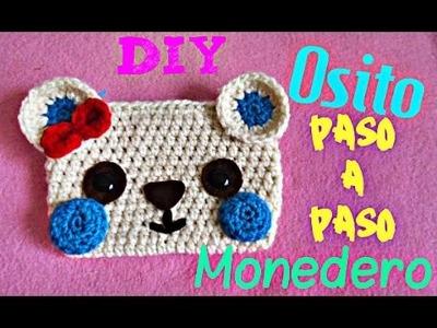 Monedero  Osito TEJIDO  - Divertido a Crochet !!!