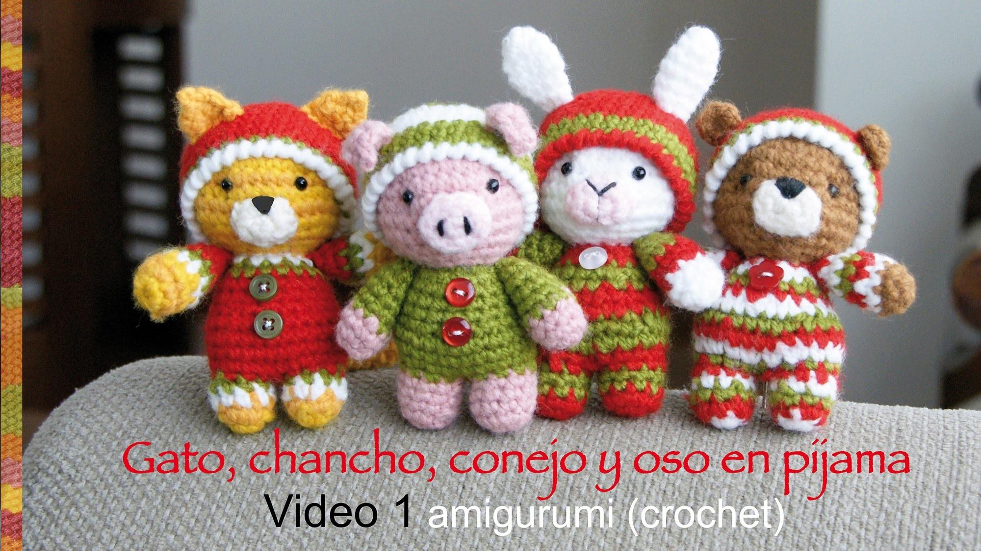 Oso, gato, chancho y conejo bebés en pijamas esperando Navidad (crochet-amigurumi) Parte 1