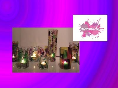 Portavelas navideñas (con vasos reciclados)
