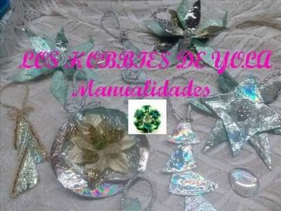 Adornos navideños con CD's. Christmas ornaments out of CD's