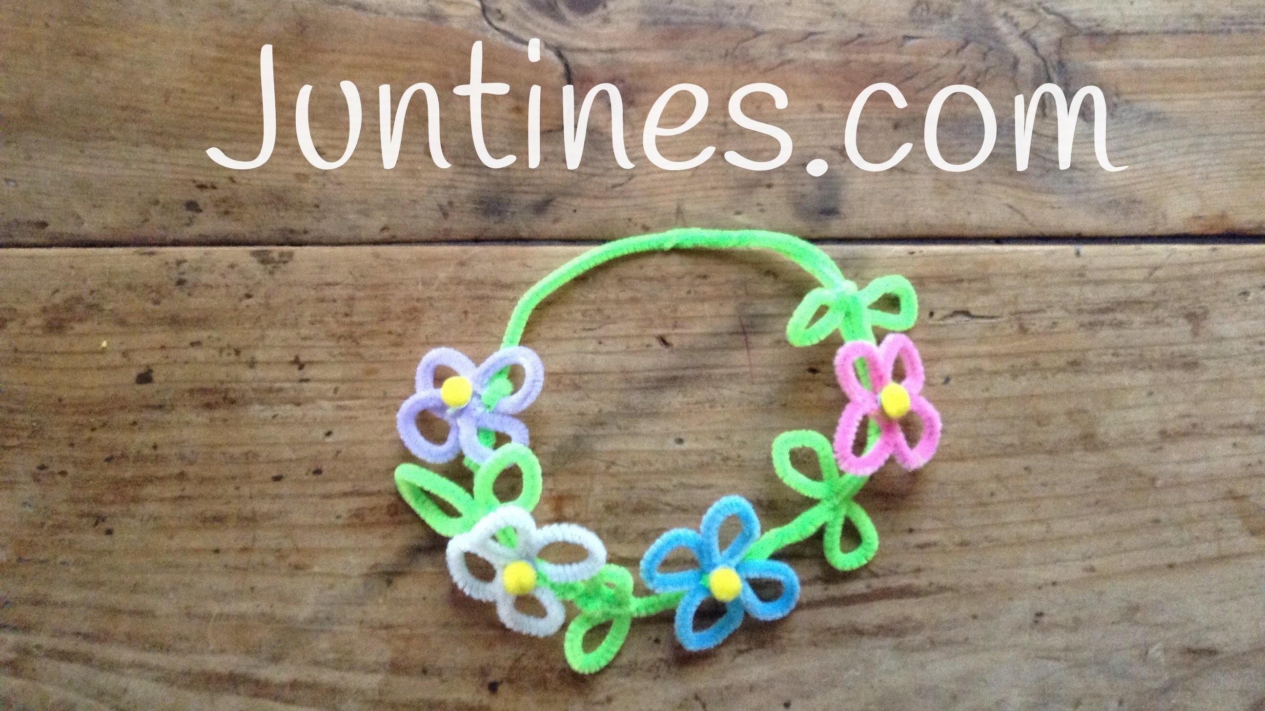 Corona de flores con limpiapipas para niños