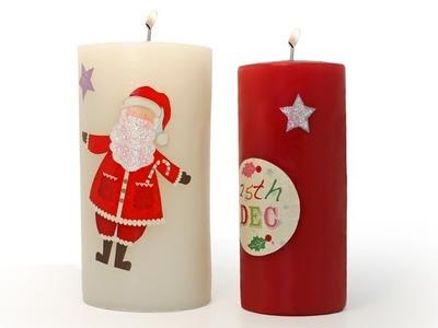 Hacer Velas Decoupage de Navidad