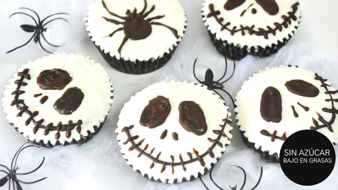 HALLOWEEN SALUDABLE: Jack Skellington Cupcakes | SIN AZÚCAR y muy fáciles!