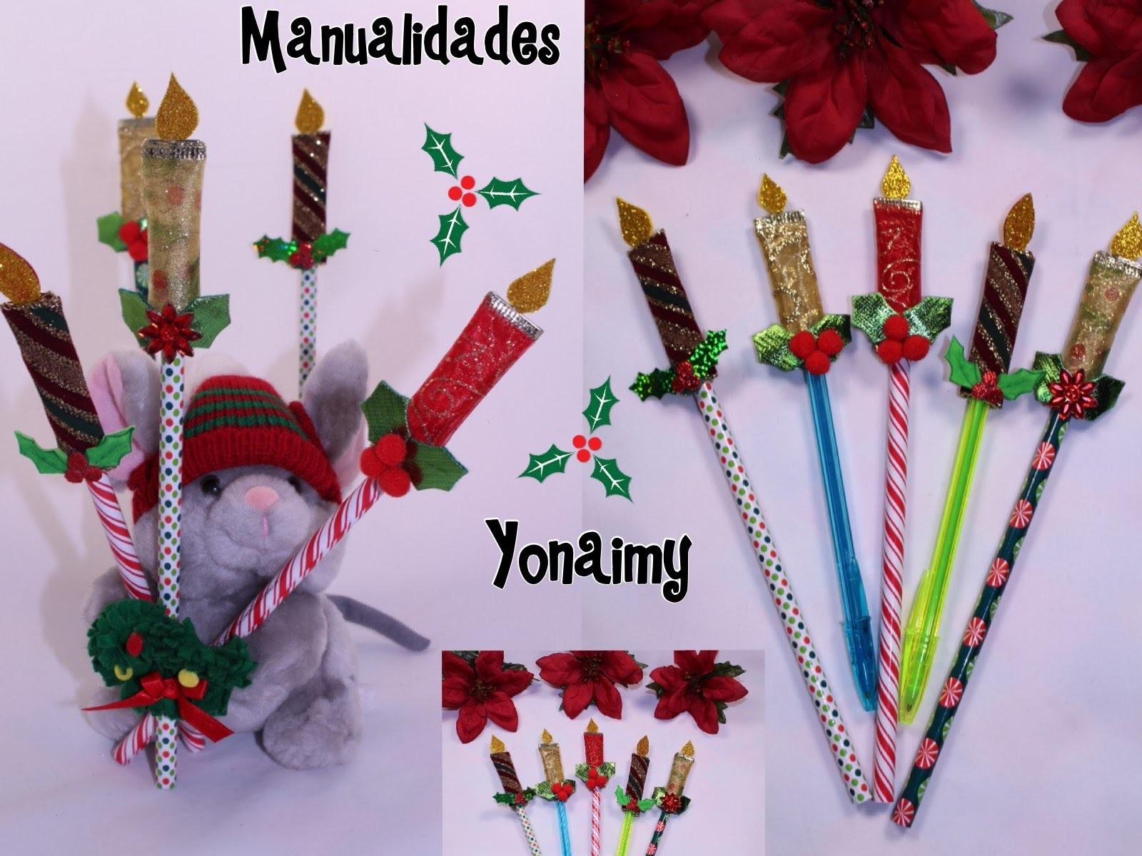 Lapices y plumas adornadas con velitas navide as for Manualidades con plumas