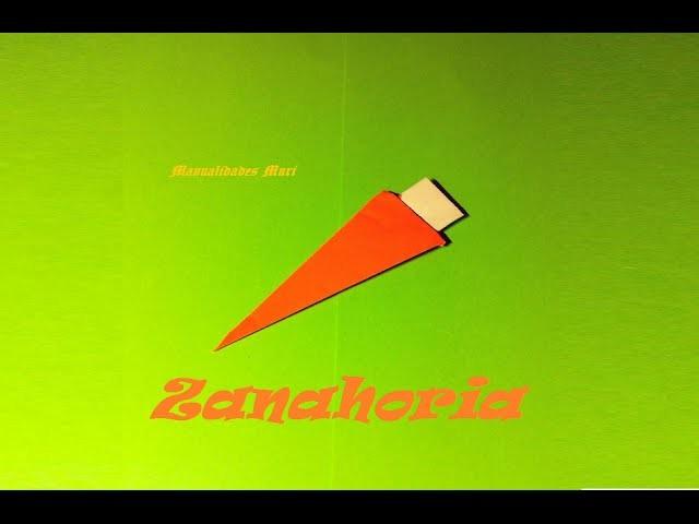 Origami - Papiroflexia. Zanahoria de papel, muy fácil