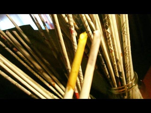 2.2.- COMO PINTAR PALITOS ROLLITOS TUBITOS DE PERIÓDICO (CON PRODUCTOS DE FARMACIA) Paper Sticks